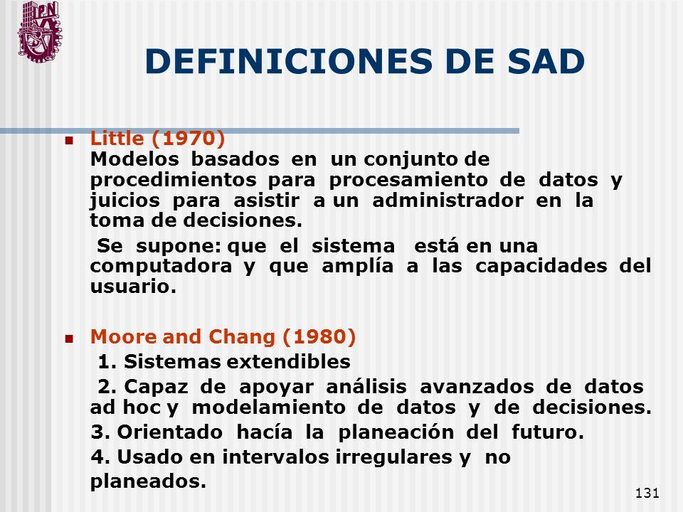 131 DEFINICIONES DE SAD Little (1970) Modelos basados en un conjunto de procedimientos para procesamiento de datos y juicios para asistir a un adminis