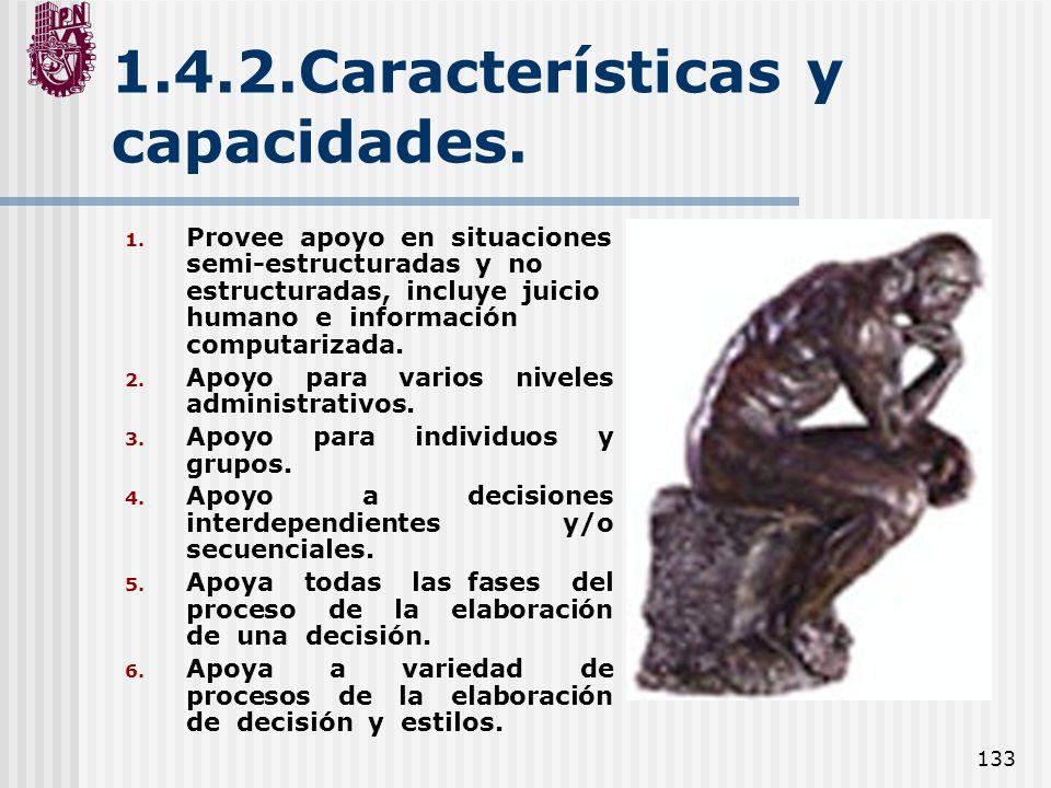 133 1.4.2.Características y capacidades. 1. Provee apoyo en situaciones semi-estructuradas y no estructuradas, incluye juicio humano e información com