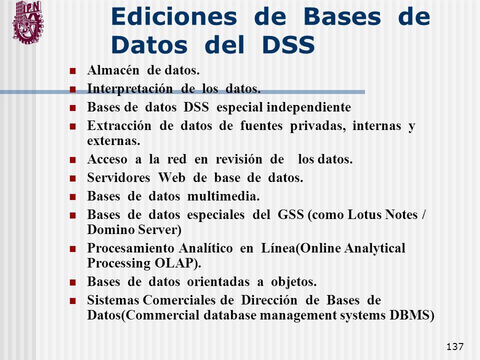 137 Ediciones de Bases de Datos del DSS Almacén de datos. Interpretación de los datos. Bases de datos DSS especial independiente Extracción de datos d