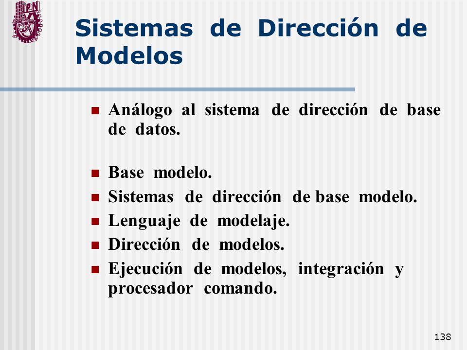 138 Sistemas de Dirección de Modelos Análogo al sistema de dirección de base de datos. Base modelo. Sistemas de dirección de base modelo. Lenguaje de
