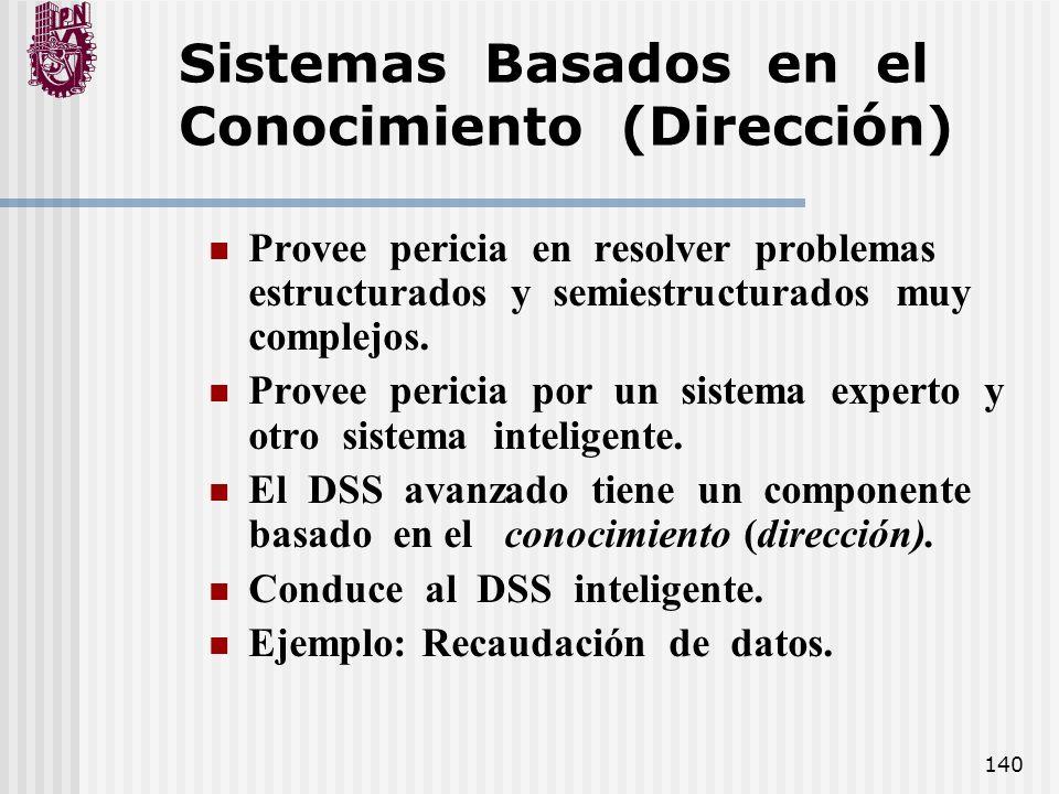 140 Sistemas Basados en el Conocimiento (Dirección) Provee pericia en resolver problemas estructurados y semiestructurados muy complejos. Provee peric