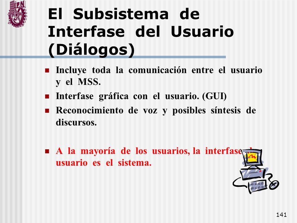 141 El Subsistema de Interfase del Usuario (Diálogos) Incluye toda la comunicación entre el usuario y el MSS. Interfase gráfica con el usuario. (GUI)