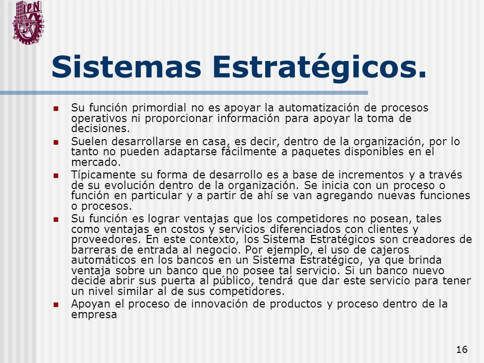 16 Sistemas Estratégicos. Su función primordial no es apoyar la automatización de procesos operativos ni proporcionar información para apoyar la toma