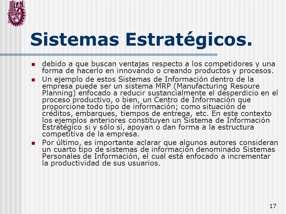 17 Sistemas Estratégicos. debido a que buscan ventajas respecto a los competidores y una forma de hacerlo en innovando o creando productos y procesos.