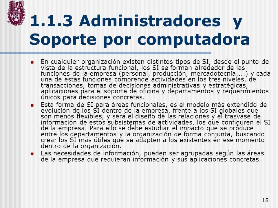 18 1.1.3 Administradores y Soporte por computadora En cualquier organización existen distintos tipos de SI, desde el punto de vista de la estructura f