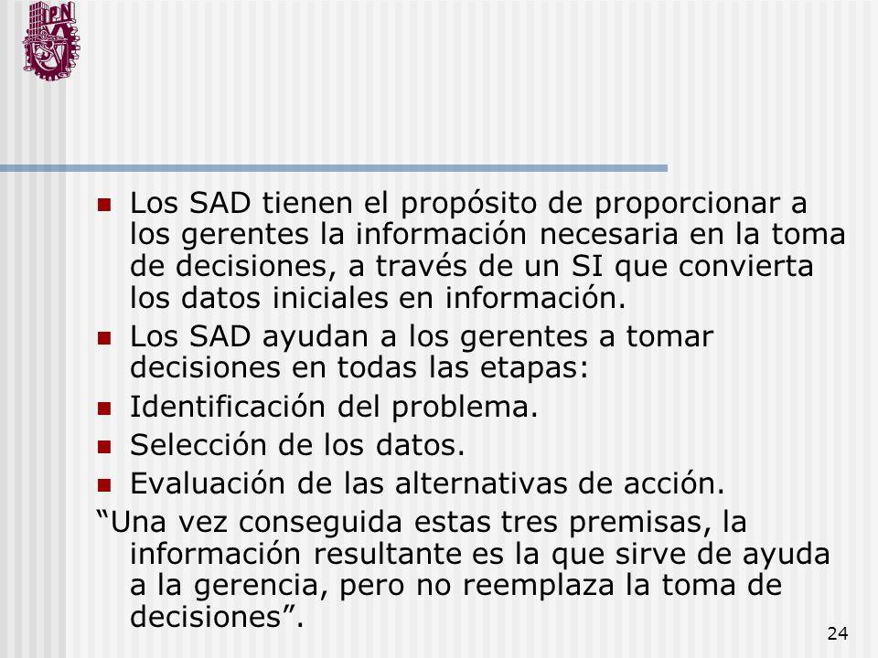 24 Los SAD tienen el propósito de proporcionar a los gerentes la información necesaria en la toma de decisiones, a través de un SI que convierta los d