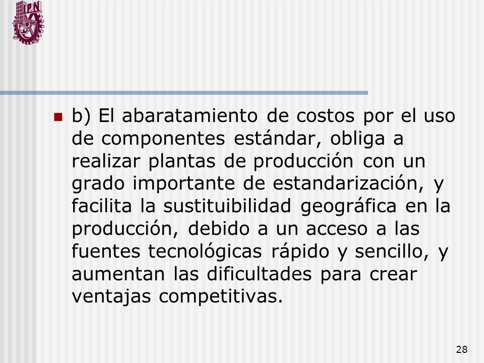 28 b) El abaratamiento de costos por el uso de componentes estándar, obliga a realizar plantas de producción con un grado importante de estandarizació