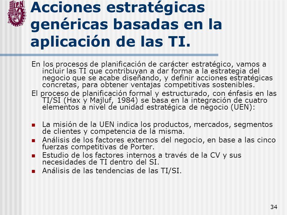 34 Acciones estratégicas genéricas basadas en la aplicación de las TI. En los procesos de planificación de carácter estratégico, vamos a incluir las T