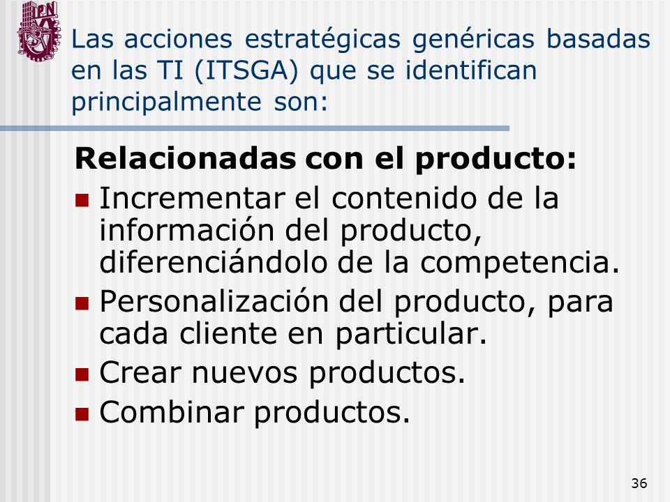 36 Las acciones estratégicas genéricas basadas en las TI (ITSGA) que se identifican principalmente son: Relacionadas con el producto: Incrementar el c
