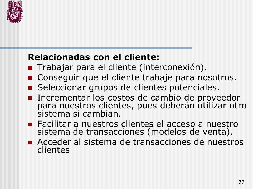 37 Relacionadas con el cliente: Trabajar para el cliente (interconexión). Conseguir que el cliente trabaje para nosotros. Seleccionar grupos de client