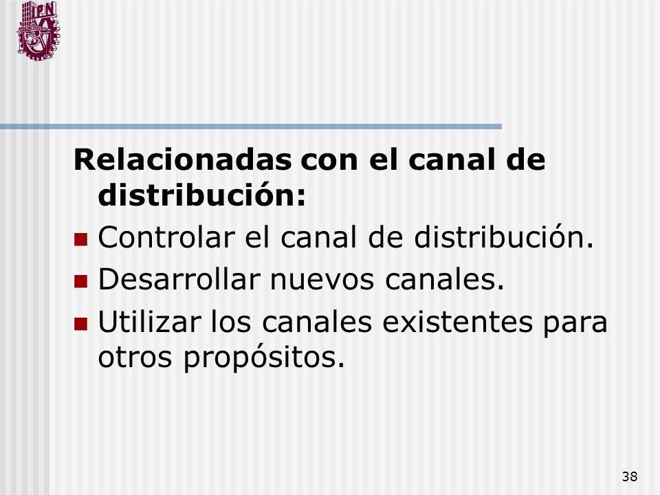38 Relacionadas con el canal de distribución: Controlar el canal de distribución. Desarrollar nuevos canales. Utilizar los canales existentes para otr