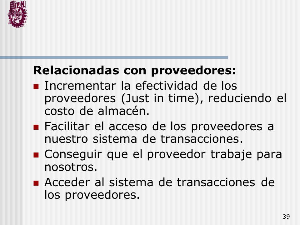 39 Relacionadas con proveedores: Incrementar la efectividad de los proveedores (Just in time), reduciendo el costo de almacén. Facilitar el acceso de