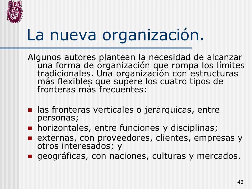 43 La nueva organización. Algunos autores plantean la necesidad de alcanzar una forma de organización que rompa los límites tradicionales. Una organiz