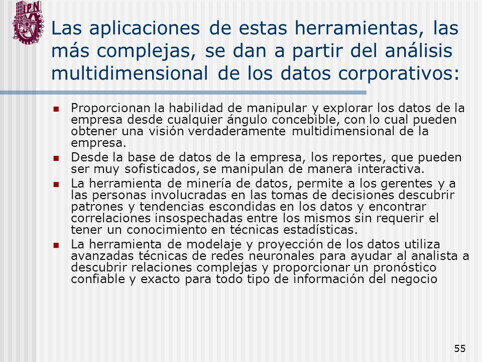 55 Las aplicaciones de estas herramientas, las más complejas, se dan a partir del análisis multidimensional de los datos corporativos: Proporcionan la