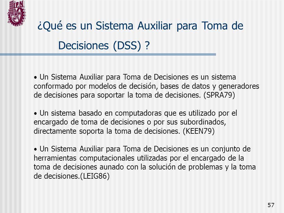 57 ¿Qué es un Sistema Auxiliar para Toma de Decisiones (DSS) ? Un Sistema Auxiliar para Toma de Decisiones es un sistema conformado por modelos de dec