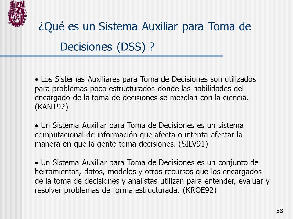 58 ¿Qué es un Sistema Auxiliar para Toma de Decisiones (DSS) ? Los Sistemas Auxiliares para Toma de Decisiones son utilizados para problemas poco estr