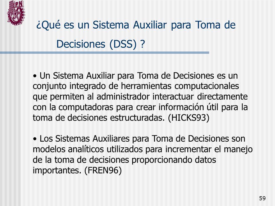 59 ¿Qué es un Sistema Auxiliar para Toma de Decisiones (DSS) ? Un Sistema Auxiliar para Toma de Decisiones es un conjunto integrado de herramientas co