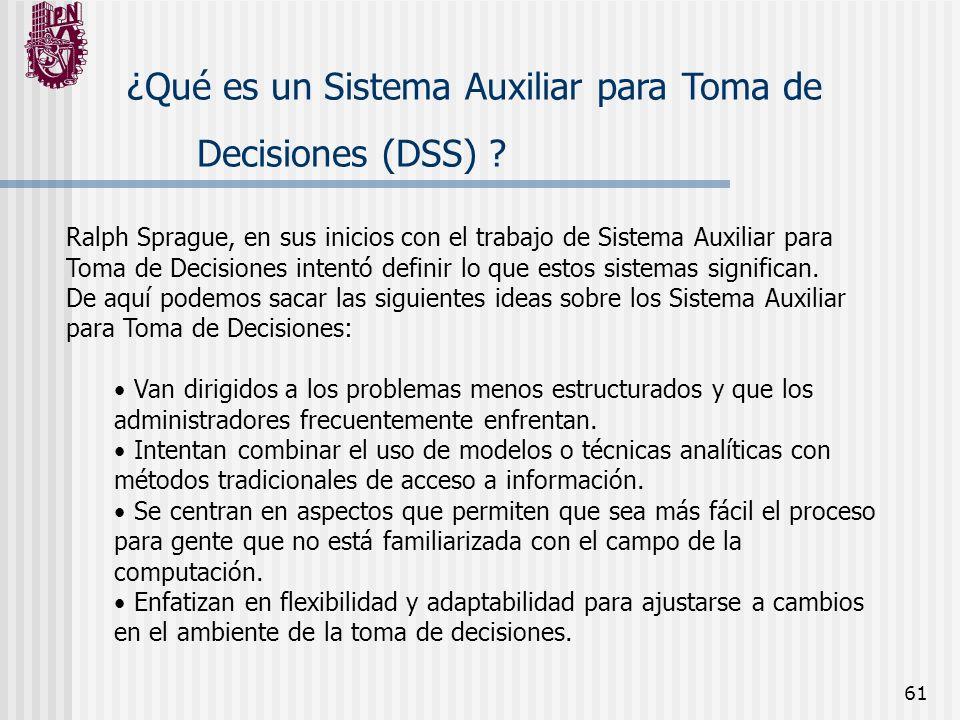 61 ¿Qué es un Sistema Auxiliar para Toma de Decisiones (DSS) ? Ralph Sprague, en sus inicios con el trabajo de Sistema Auxiliar para Toma de Decisione