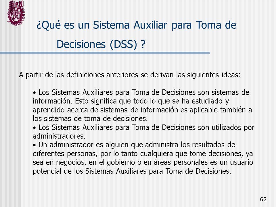 62 ¿Qué es un Sistema Auxiliar para Toma de Decisiones (DSS) ? A partir de las definiciones anteriores se derivan las siguientes ideas: Los Sistemas A