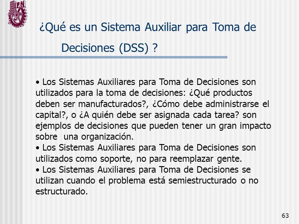 63 ¿Qué es un Sistema Auxiliar para Toma de Decisiones (DSS) ? Los Sistemas Auxiliares para Toma de Decisiones son utilizados para la toma de decision