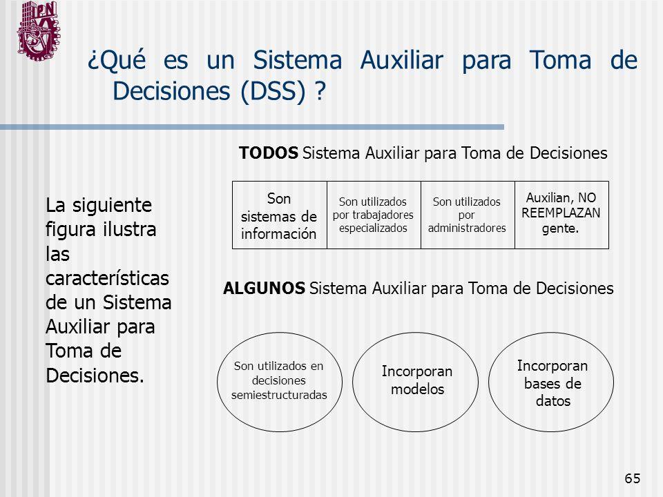 65 ¿Qué es un Sistema Auxiliar para Toma de Decisiones (DSS) ? La siguiente figura ilustra las características de un Sistema Auxiliar para Toma de Dec