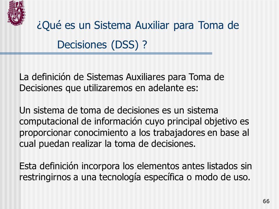 66 ¿Qué es un Sistema Auxiliar para Toma de Decisiones (DSS) ? La definición de Sistemas Auxiliares para Toma de Decisiones que utilizaremos en adelan