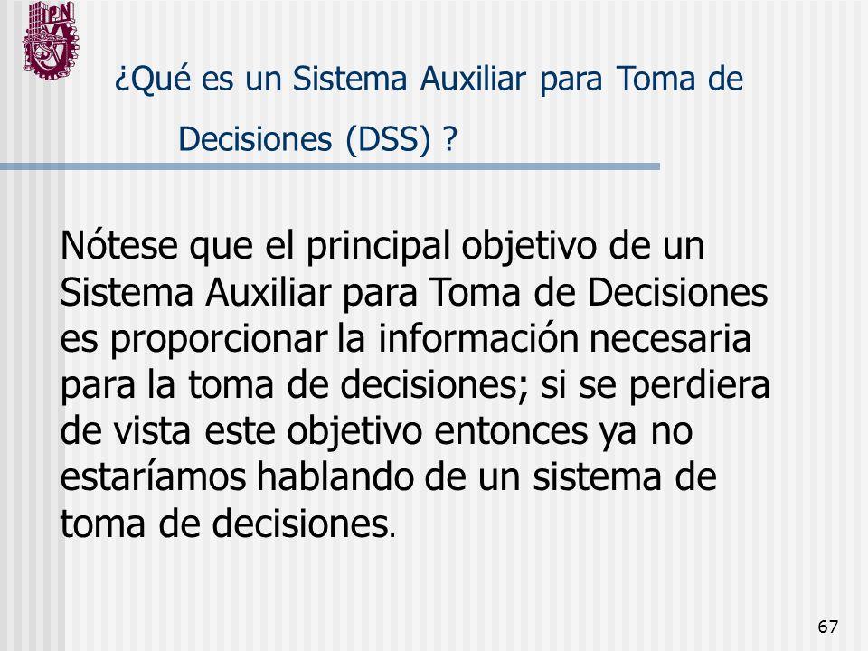 67 ¿Qué es un Sistema Auxiliar para Toma de Decisiones (DSS) ? Nótese que el principal objetivo de un Sistema Auxiliar para Toma de Decisiones es prop