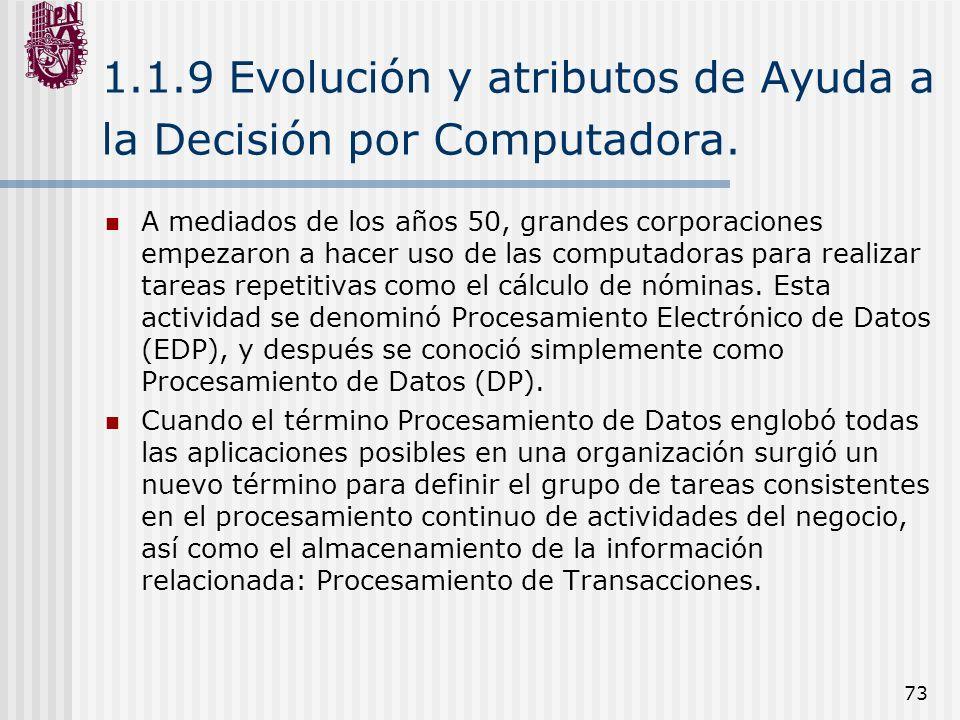 73 1.1.9 Evolución y atributos de Ayuda a la Decisión por Computadora. A mediados de los años 50, grandes corporaciones empezaron a hacer uso de las c