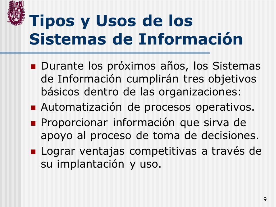 9 Tipos y Usos de los Sistemas de Información Durante los próximos años, los Sistemas de Información cumplirán tres objetivos básicos dentro de las or