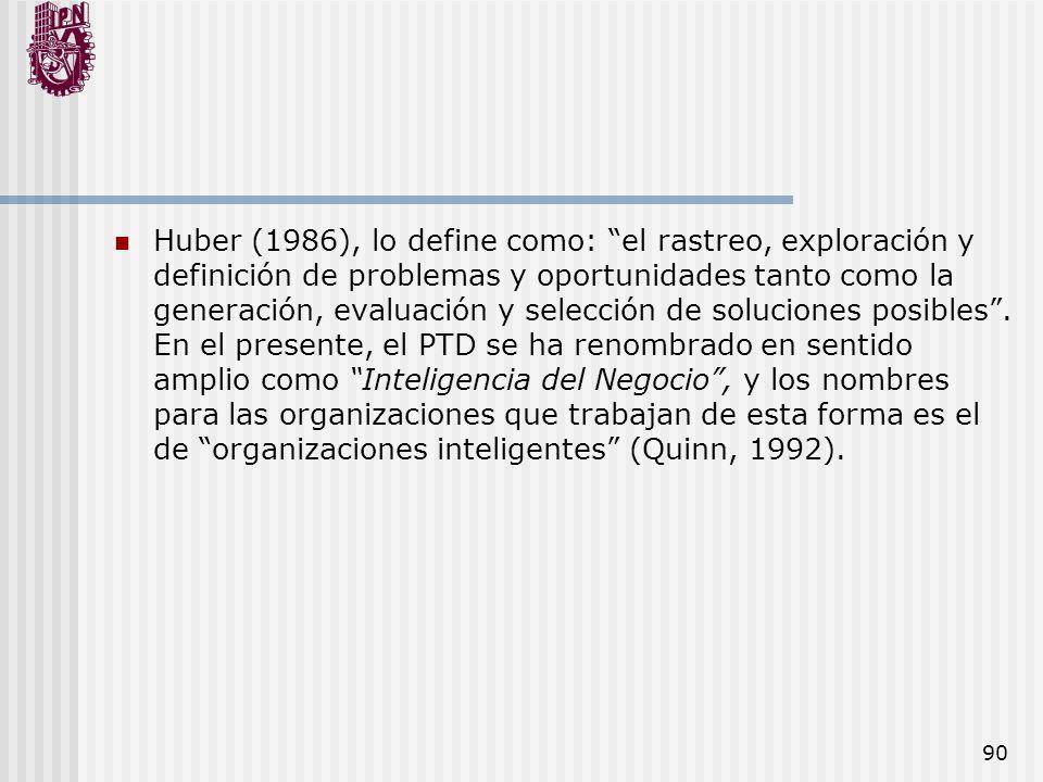 90 Huber (1986), lo define como: el rastreo, exploración y definición de problemas y oportunidades tanto como la generación, evaluación y selección de