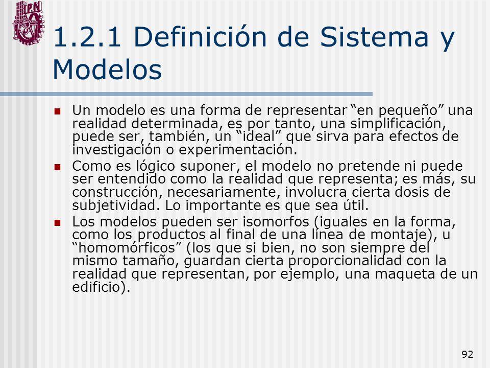 92 1.2.1 Definición de Sistema y Modelos Un modelo es una forma de representar en pequeño una realidad determinada, es por tanto, una simplificación,