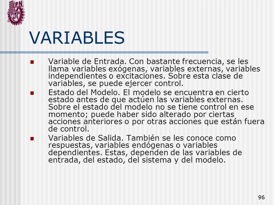 96 VARIABLES Variable de Entrada. Con bastante frecuencia, se les llama variables exógenas, variables externas, variables independientes o excitacione