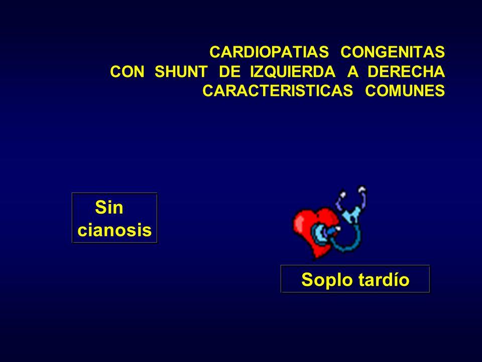 Soplo tardío Sin cianosis CARDIOPATIAS CONGENITAS CON SHUNT DE IZQUIERDA A DERECHA CARACTERISTICAS COMUNES