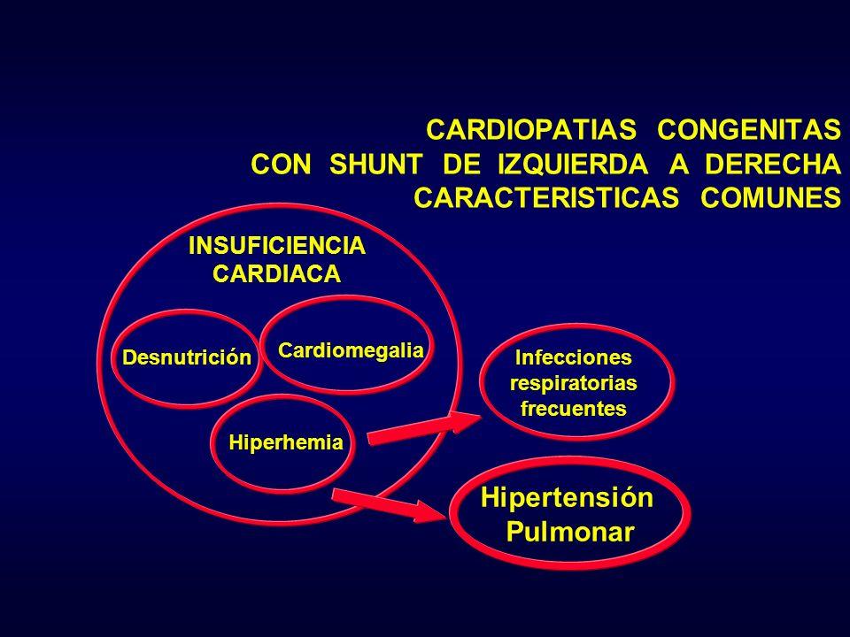 INSUFICIENCIA CARDIACA Desnutrición Cardiomegalia Hiperhemia Hipertensión Pulmonar Infecciones respiratorias frecuentes CARDIOPATIAS CONGENITAS CON SH