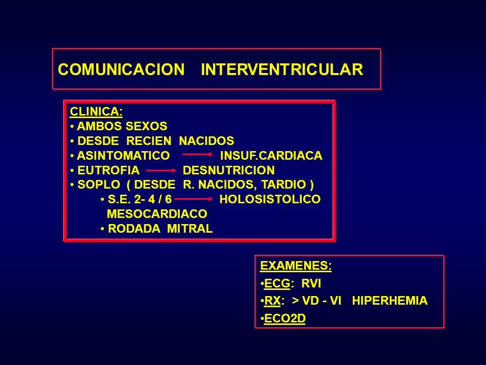CLINICA: AMBOS SEXOS DESDE RECIEN NACIDOS ASINTOMATICO INSUF.CARDIACA EUTROFIA DESNUTRICION SOPLO ( DESDE R. NACIDOS, TARDIO ) S.E. 2- 4 / 6 HOLOSISTO