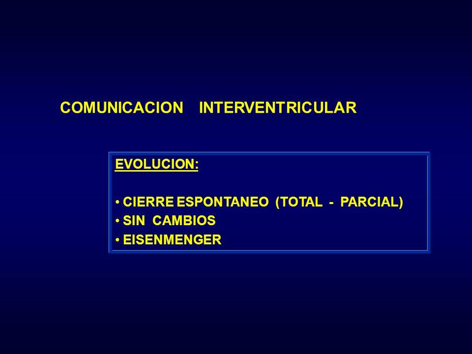 COMUNICACION INTERVENTRICULAR EVOLUCION: CIERRE ESPONTANEO (TOTAL - PARCIAL) SIN CAMBIOS EISENMENGER