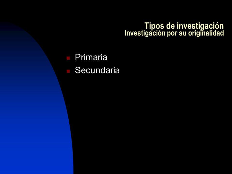 Tipos de investigación Investigación por su originalidad Primaria Secundaria