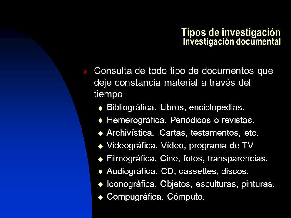 Tipos de investigación Investigación documental Consulta de todo tipo de documentos que deje constancia material a través del tiempo Bibliográfica.