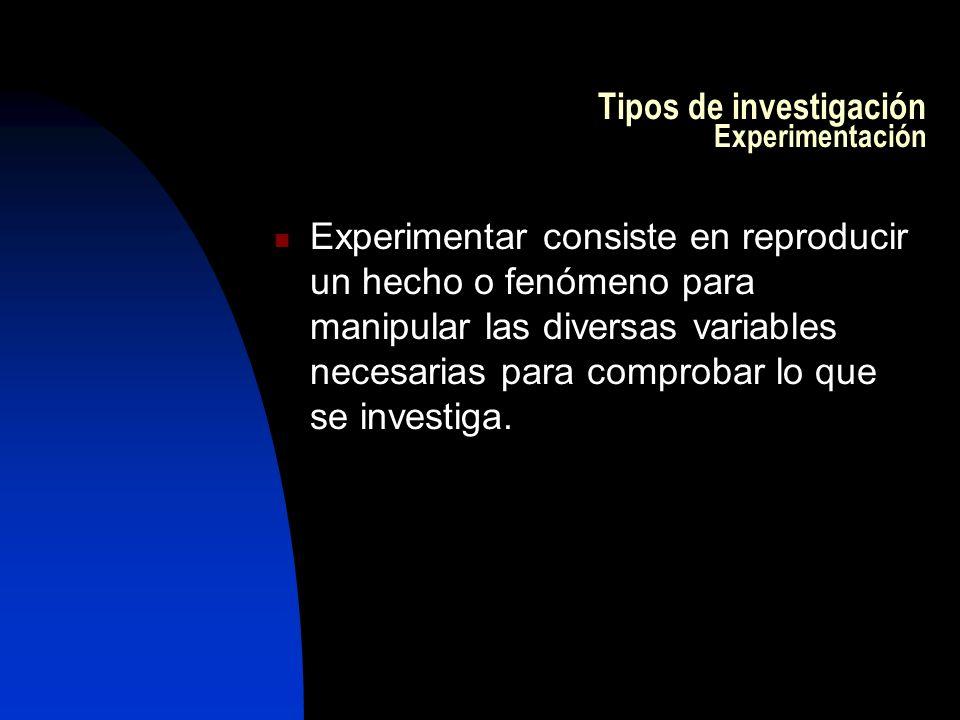 Tipos de investigación Experimentación Experimentar consiste en reproducir un hecho o fenómeno para manipular las diversas variables necesarias para comprobar lo que se investiga.