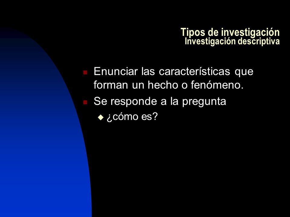 Tipos de investigación Investigación descriptiva Enunciar las características que forman un hecho o fenómeno.