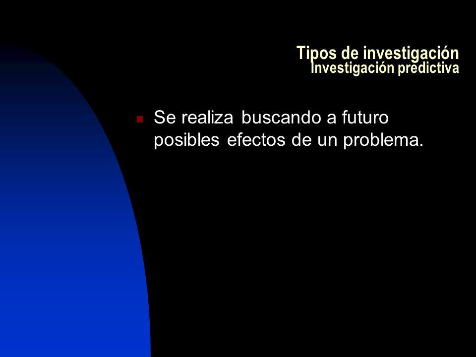 Tipos de investigación Investigación predictiva Se realiza buscando a futuro posibles efectos de un problema.