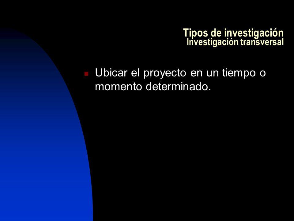 Tipos de investigación Investigación transversal Ubicar el proyecto en un tiempo o momento determinado.