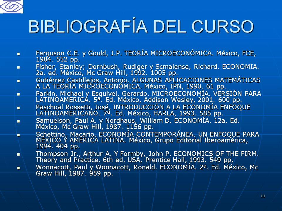 11 BIBLIOGRAFÍA DEL CURSO Ferguson C.E. y Gould, J.P. TEORÍA MICROECONÓMICA. México, FCE, 1984. 552 pp. Ferguson C.E. y Gould, J.P. TEORÍA MICROECONÓM