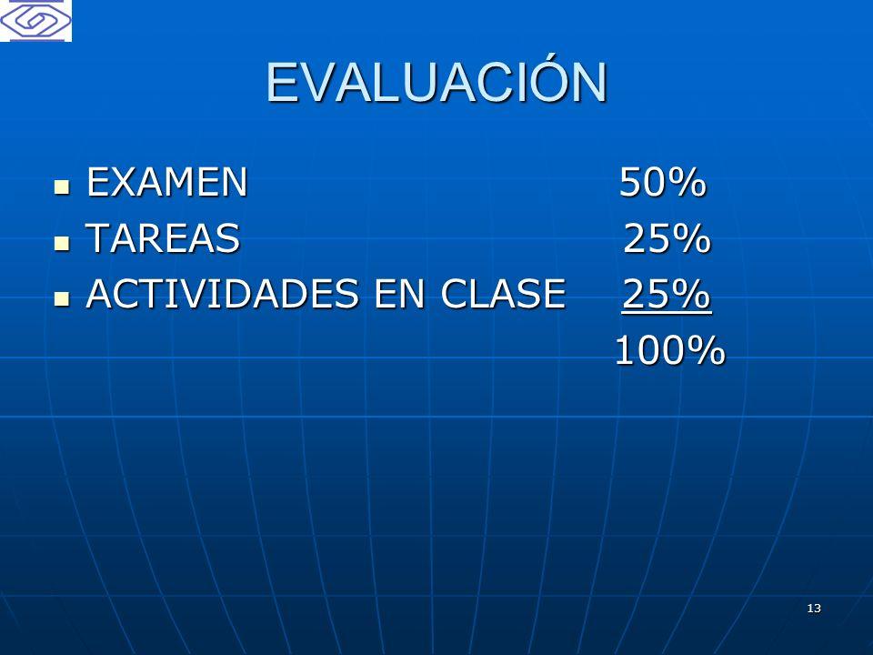 13 EVALUACIÓN EXAMEN 50% EXAMEN 50% TAREAS 25% TAREAS 25% ACTIVIDADES EN CLASE 25% ACTIVIDADES EN CLASE 25% 100% 100%