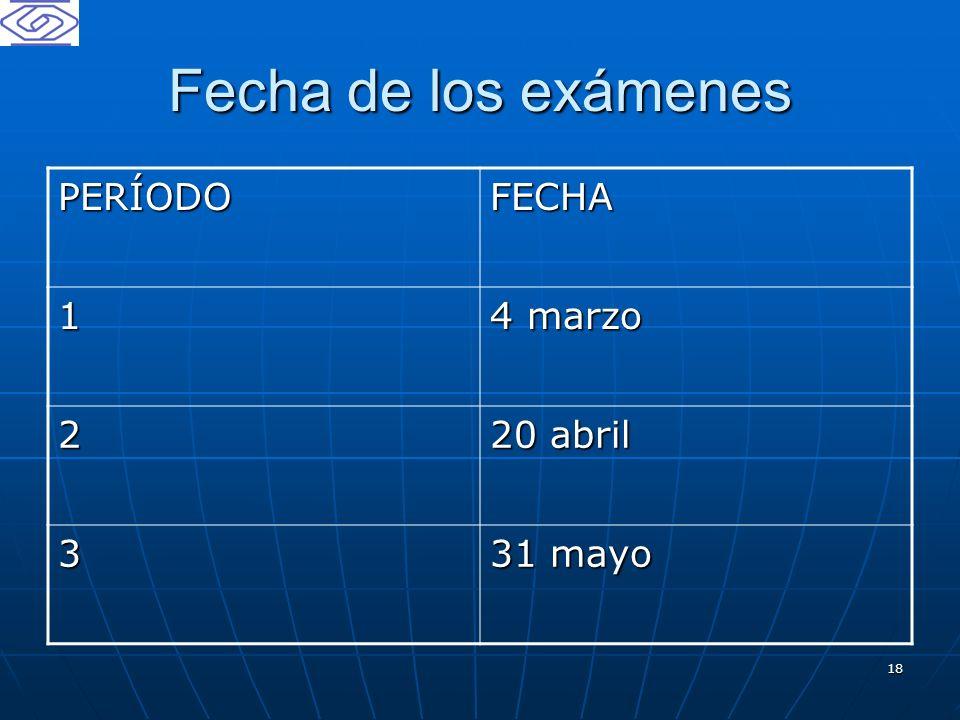 18 Fecha de los exámenes PERÍODOFECHA 1 4 marzo 2 20 abril 3 31 mayo