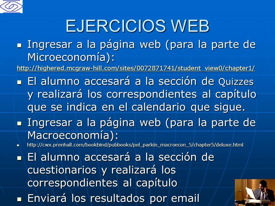 19 EJERCICIOS WEB Ingresar a la página web (para la parte de Microeconomía): Ingresar a la página web (para la parte de Microeconomía): http://highere