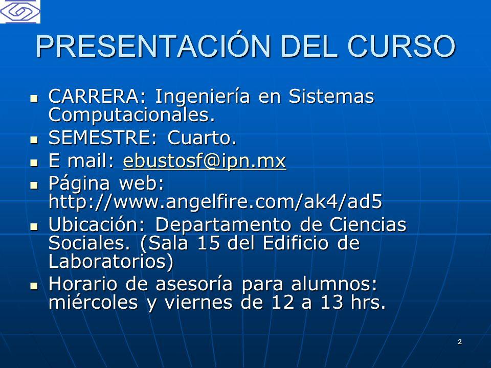 2 PRESENTACIÓN DEL CURSO CARRERA: Ingeniería en Sistemas Computacionales. CARRERA: Ingeniería en Sistemas Computacionales. SEMESTRE: Cuarto. SEMESTRE:
