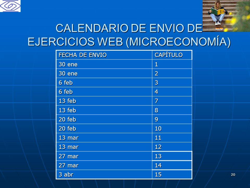 20 CALENDARIO DE ENVIO DE EJERCICIOS WEB (MICROECONOMÍA) FECHA DE ENVIO CAPÍTULO 30 ene 1 2 6 feb 3 4 13 feb 7 8 20 feb 9 10 13 mar 11 12 27 mar 13 14