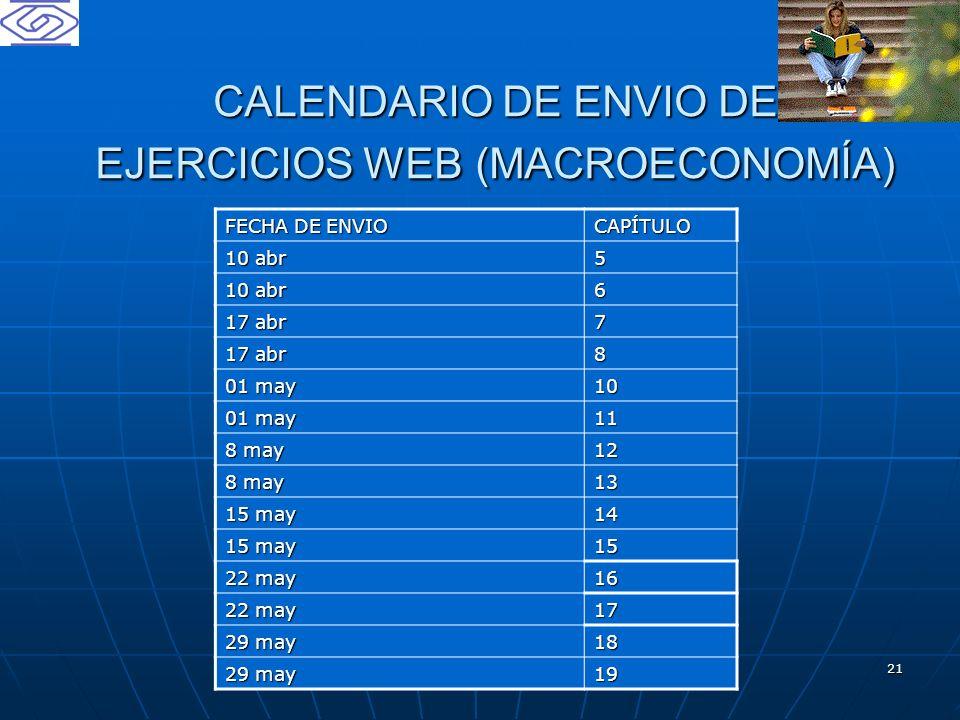 21 CALENDARIO DE ENVIO DE EJERCICIOS WEB (MACROECONOMÍA) FECHA DE ENVIO CAPÍTULO 10 abr 5 6 17 abr 7 8 01 may 10 11 8 may 12 13 15 may 14 15 22 may 16