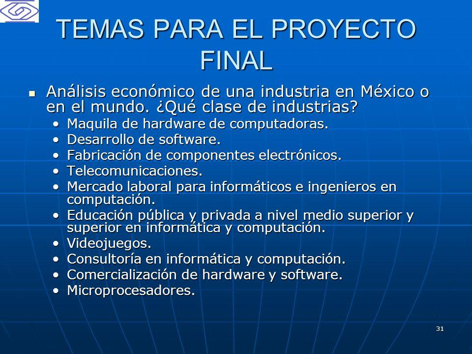 31 TEMAS PARA EL PROYECTO FINAL Análisis económico de una industria en México o en el mundo. ¿Qué clase de industrias? Análisis económico de una indus
